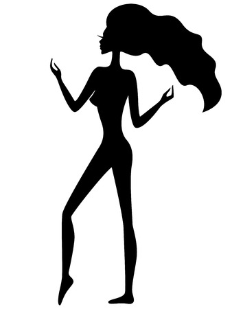 flexible girl: Abstract graceful girl with waving hair, black silhouette