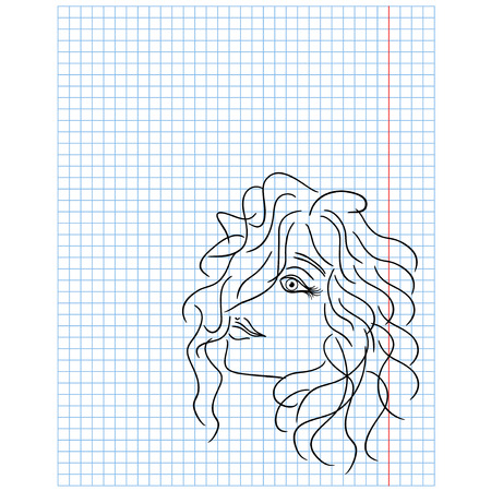 curled lip: Female head with curled hair drawing on a checkered sheet, vector illustration