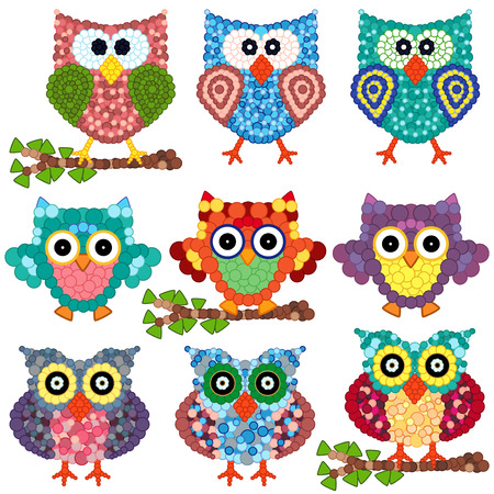 gaudy: Set of nine colorful ornamental owls with circle elements isolated over white background, cartoon vector illustration