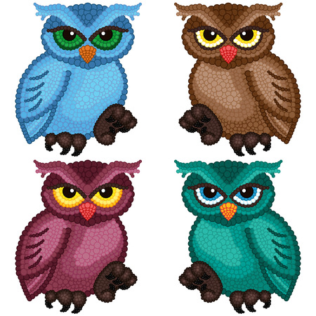 gaudy: Set of four colorful ornamental owls with circle elements isolated over white background, cartoon vector illustration