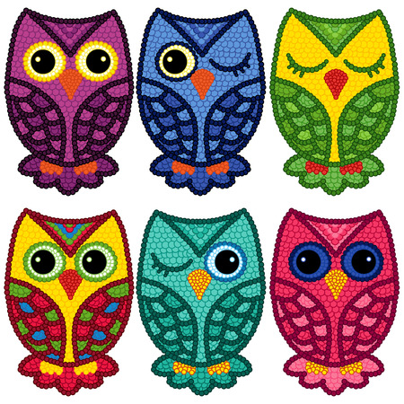 motley: Set of six motley funny owls with circle elements isolated over white background, cartoon vector illustration