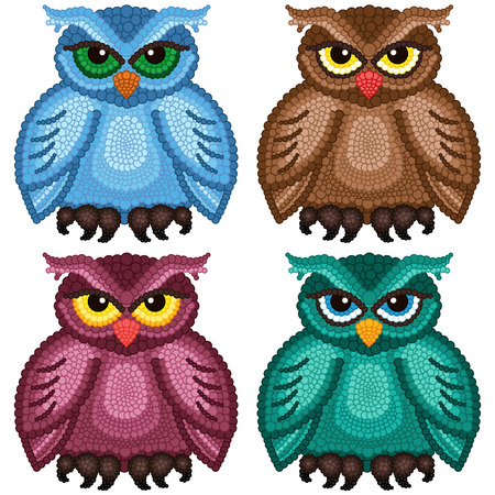 nightly: Set of four funny ornamental owls with circle elements isolated over white background, cartoon vector illustration Illustration