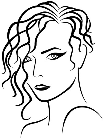 periwig: Abstract female head with climbing hair style, sketch drawing vector outline Illustration