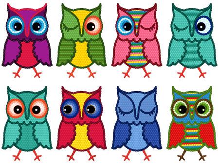 motley: Set of eight motley amusing owls with circle elements isolated over white background, cartoon vector illustration Illustration