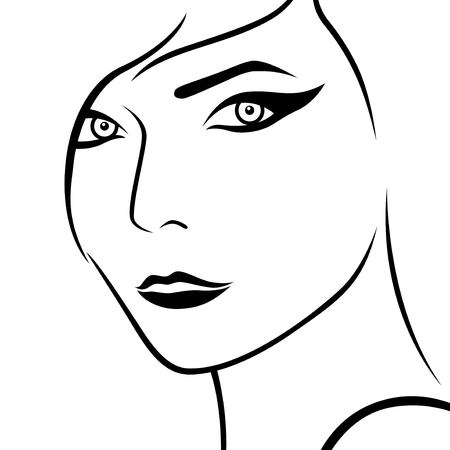 woman lips: Abstract female face, sketch drawing vector outline Illustration