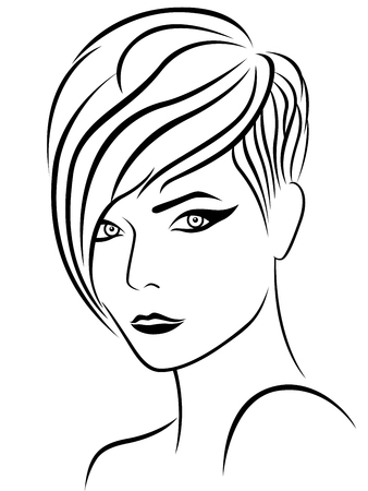 frizzy: Female head with nice elegant hairstyle, sketch drawing vector outline Illustration