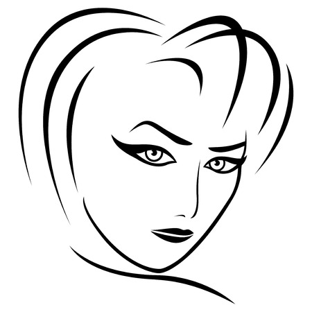 frizzy: Abstract female head with half turn head and concentrated look, vector illustration