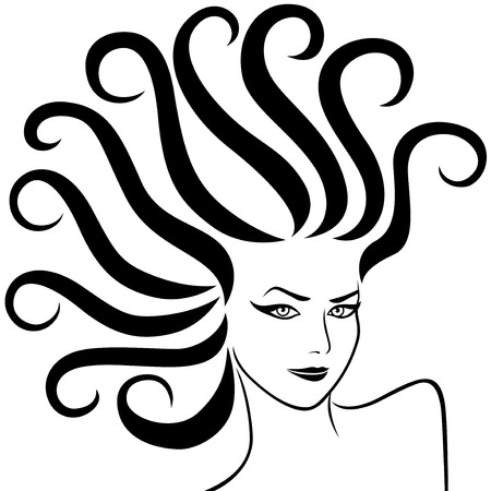 pigtails: Abstract female head with fancy pigtails, vector illustration