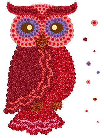 many coloured: Coloured ornamental owl in red hues made from many various buttons, cartoon vector artwork