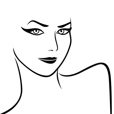 frizzy: Art sketching of abstract female face and shoulders, vector artwork