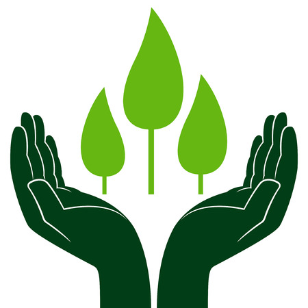 ecologic: Green trees in human hands, conceptual ecologic vector illustration Illustration