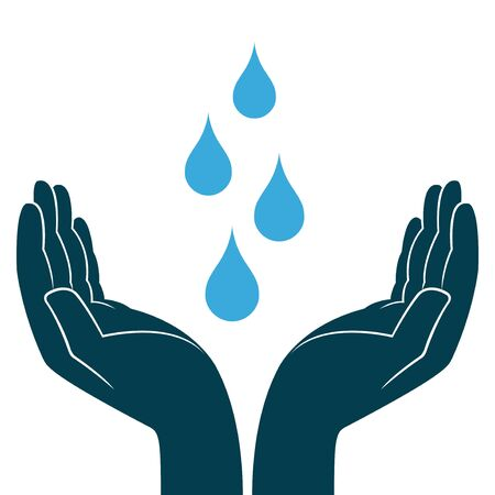 Blue water drops in human hands, conceptual ecologic vector illustration Illustration
