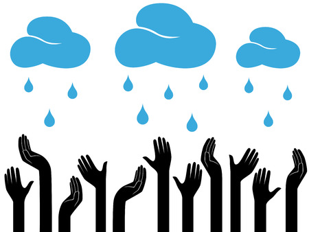 raining: Human hands outstretched to the sky with raining clouds, conceptual ecologic vector illustration Illustration
