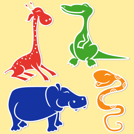 boa: Giraffe, crocodile, hippo and boa on light yellow background, cartoon flat vector illustration Illustration