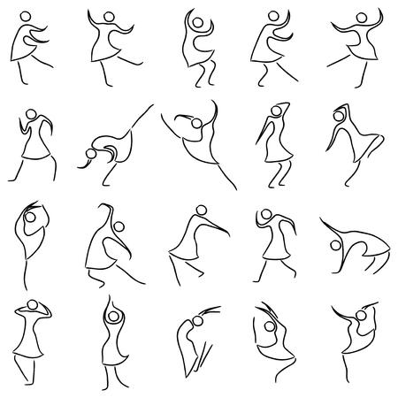 twenty: Set of twenty dancing abstract women, sketching black and white cartoon vector illustration Illustration
