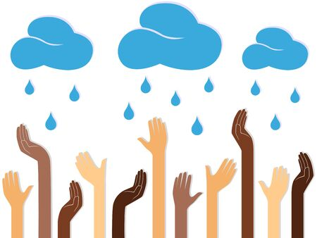 raining: Multicolour human hands outstretched to the sky with raining clouds, conceptual ecologic vector illustration