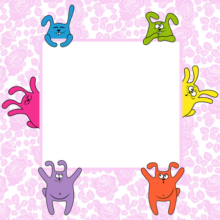 easter message: Funny rabbits holding a big advertising banner, vector illustration on the seamless rose background