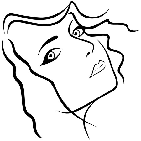 half turn: Abstract beautiful young lady portrait with half turn head, hand drawing vector outline