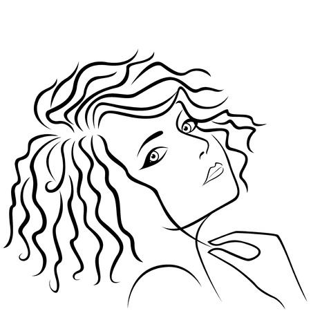half turn: Abstract beautiful young girl half turn head and holding strand of hair in hand, hand drawing vector outline