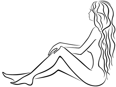 sits: Abstract beautiful young girl with long hair dreamily sits with legs slightly bent, hand drawing vector outline