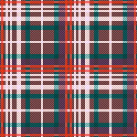 scot: Rectangular seamless vector pattern as a tartan plaid mainly in red, green, beige and brown colors