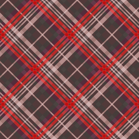 muted: Diagonal position of rectangular seamless vector pattern as a tartan plaid mainly in muted red and other colors Illustration