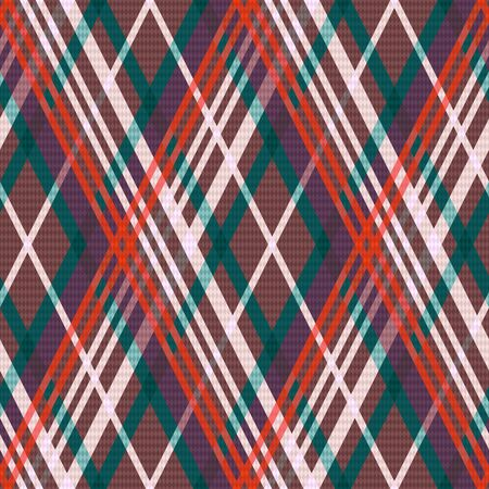 rhombic: Rhombic seamless vector pattern as a tartan plaid in red, green, beige and brown colors
