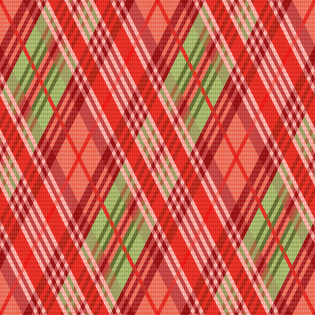 rhombic: Rhombic seamless vector pattern as a tartan plaid mainly in red hues