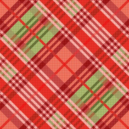 hues: Diagonal position of rectangular seamless vector pattern as a tartan mainly in red hues