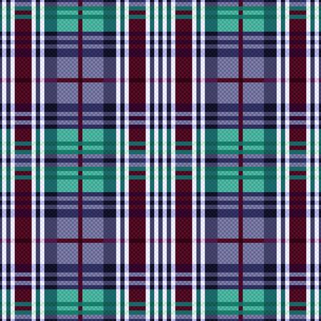 scot: Rectangular seamless vector pattern as a tartan plaid mainly in cool hues