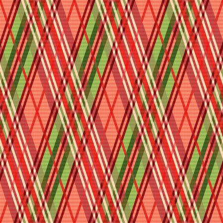 scot: Bright rhombic seamless vector pattern as a tartan plaid mainly in red hues