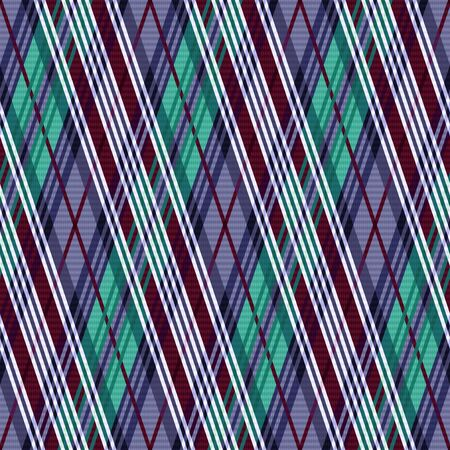rhombic: Rhombic seamless vector pattern as a tartan plaid mainly in cool hues
