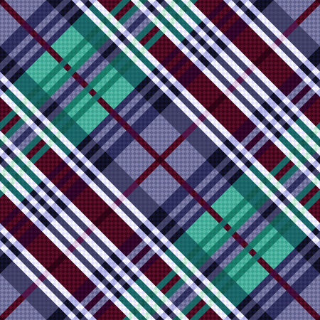 scot: Diagonal seamless vector pattern as a tartan plaid mainly in cool hues Illustration