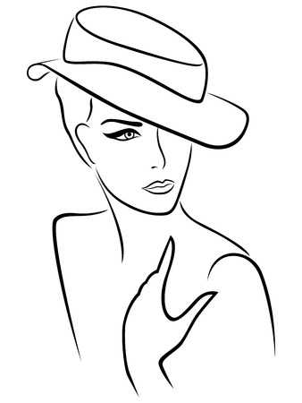 bust: Elegant young lady in a hat, hand drawing black vector outline