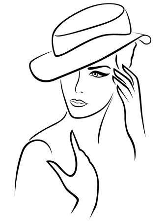 ladies bust: Elegant young woman in a hat, hand drawing black vector outline on a white background Illustration