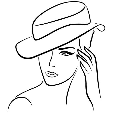 dessin au trait: Elégante jeune fille dans un chapeau, la main dessin noir vecteur contour Illustration