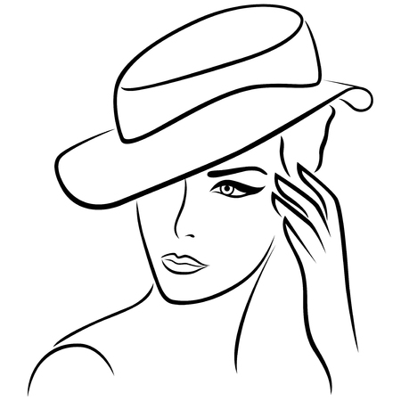 simple girl: Elegant young girl in a hat, hand drawing black vector outline