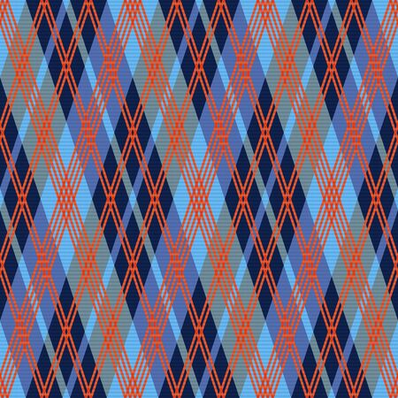 scot: Rhombic seamless vector pattern as a tartan plaid mainly in red an blue hues