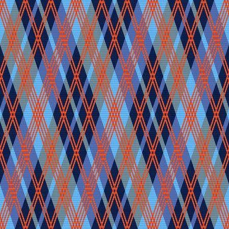 tartan plaid: Rhombic seamless vector pattern as a tartan plaid mainly in red an blue hues
