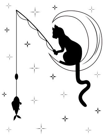 silueta de gato: Gato negro con cola larga se sienta en la luna entre el cielo estrellado y coge un pescado con caña de pescar, cartón blanco y negro ilustración vectorial