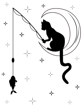 Black cat with long tail sitting on the moon among starry sky and catches a fish with fishing rod, black and white carton vector illustration