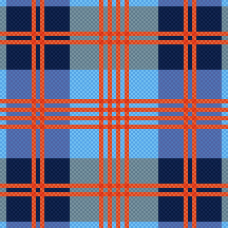 hues: Rectangular seamless vector pattern as a tartan plaid mainly in red an blue hues Illustration