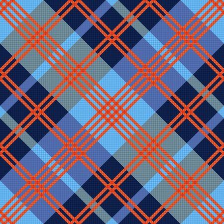 hues: Diagonal seamless vector pattern as a tartan plaid mainly in red an blue hues