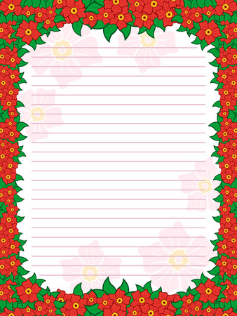hues: Sheet of notepad with parallel lines and colorful floral frame with flowers mainly in red hues, vector illustration Illustration