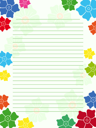 clerical: Notepad blank empty in light green hues with parallel lines and multicolour floral frame with flowers, vector illustration
