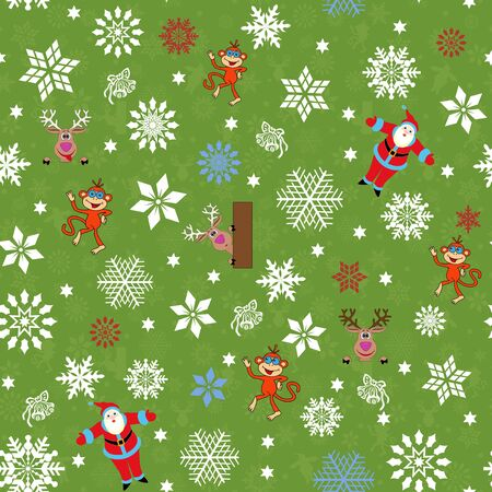 christmas motive: Christmas seamless vector pattern with Santa Claus, reindeer, monkey and many snowflakes on a green background with winter motive
