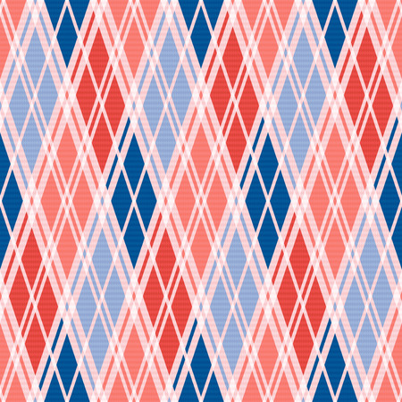 rhombic: Rhombic seamless vector pattern as a tartan plaid mainly in red an blue trendy hues