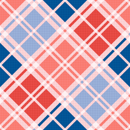 hues: Diagonal seamless vector pattern as a tartan plaid mainly in red an blue trendy hues