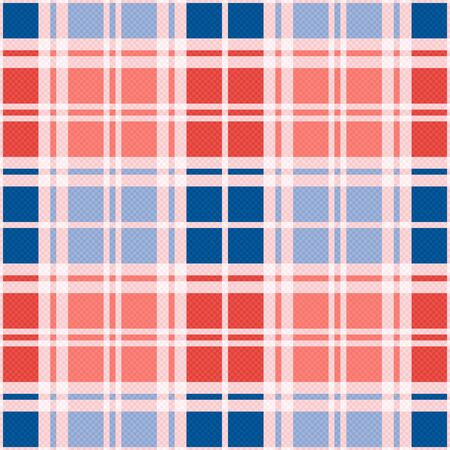tartan plaid: Rectangular seamless vector pattern as a tartan plaid mainly in red an blue trendy hues Illustration
