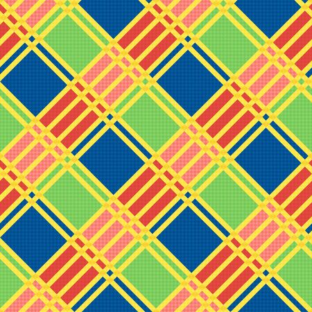 scot: Diagonal seamless vector pattern as a tartan plaid mainly in motley trendy colors